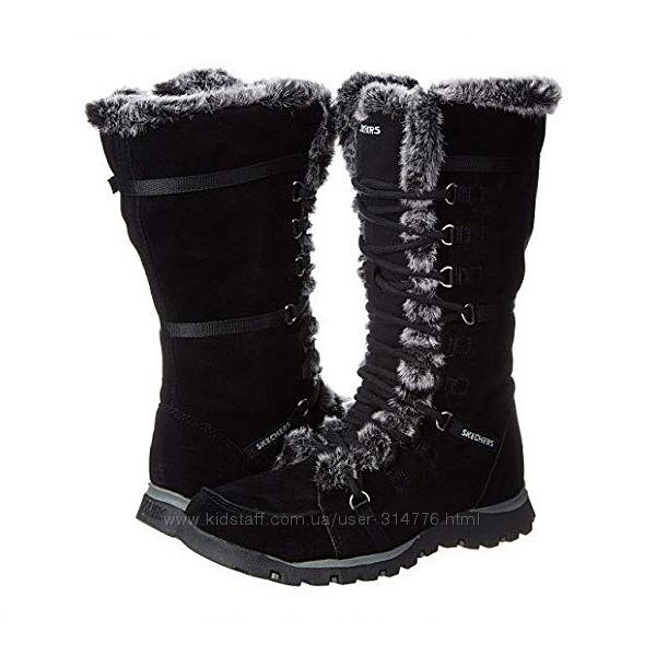 удобные женские зимние замшевые сапоги Skechers шнуровка, молния, мех, США