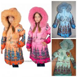 Зимнее пальто для девочки Kiko 3327 116-134 размер