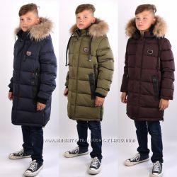 Зимняя удлиненная куртка, полупальто Kiko 5444 для мальчика  152-170 р