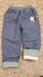 Демизимние штаны на резинке с подворотом, Оранжевый верблюд, р. 92-98, бу
