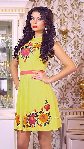 Шифоновое платье сарафан лимонного цвета 44р М