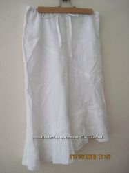 Натуральная молочная юбочка лен летняя H&M