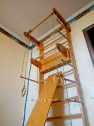 Спортивный детский уголок с навесным турничком и доской, 240 см высота