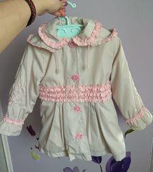 Курточка-пальто весна-осінь на флісі на ріст 86см дівчинці Стан нового