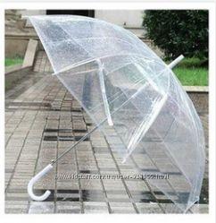 Прозрачный зонт куполом полуавтомат, прозрачный зонтик в чехле