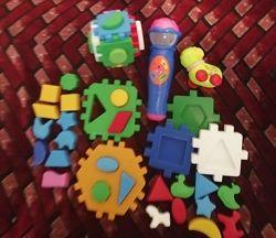 Микрофон интерактивный, сортер куб умныймалыш, игрушка заводная комплектом