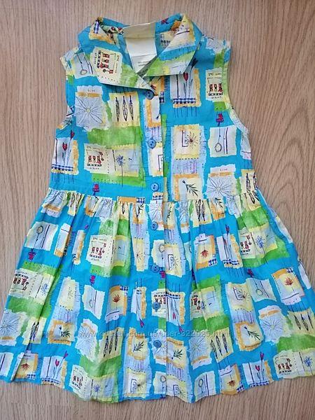 Сарафанчик летний с пайетками и карманчиками Next, Laura Ashley 1,5 2 года