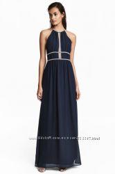 Шикарное макси платье от H&M в наличии , цвет синий