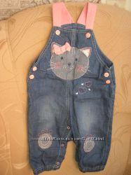 Полукомбинезон облегченный джинсы джинсовый на малышку 9-14 мес хлопок