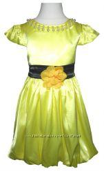 Желтое нарядное платье для девочки