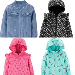 Легкі весняно-літні Вітрівки, джинсові куртки  Carters, Zara 2-12р