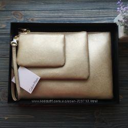 Шикарный комплект  Клатчей Calvin Klein Оригинал кожа сафьяно