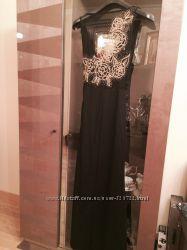 Шикарное вечернее длинное платье со стразами