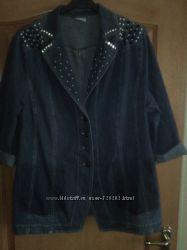 Модный джинсовый пиджак со стразами и бисером большого р-ра