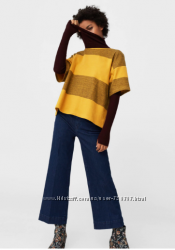 Горчичный свитер Манго в полоску из плотной хлопковой ткани