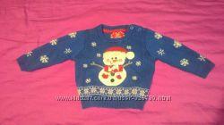 новогодний зимний свитерок на 3-6 мес