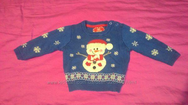 новогодний  свитерок мальчику на 3-6 месяцев