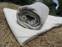 Стеганное одеяло в льняном чехле
