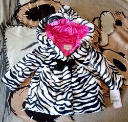 Детская шуба деми куртка 2-3 года мягкая бело-черная шубка как зебра