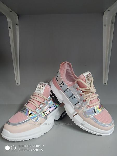 Подростковые кроссовки для девочек, р.36-41, розовые,760