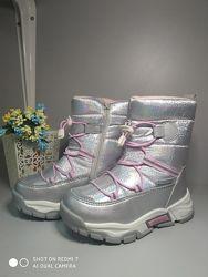 Термо ботинки Tom. M 7882 серебро, р 27-32