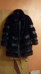 Хит Эксклюзивная норковая шуба с кожаными вставками р. 50 L