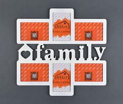 Деревянные фоторамки-коллажи с надписью Семья, Family