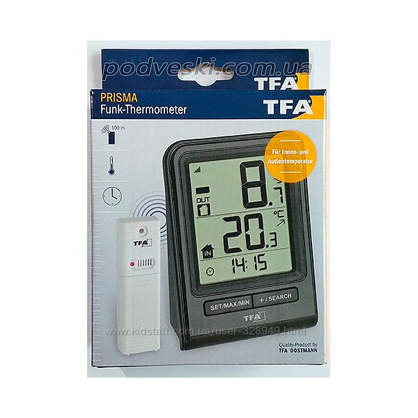 Цифровой термометр для комнаты и улицы с радиодатчиком TFA.