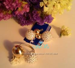 Комплект украшений из серебра с золотом Луна