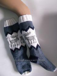Вязаные носки гольфы с оленями в наличии
