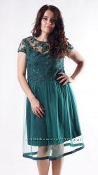 Шикарное платье из фатина и французского кружева полубатальная сериНовинка