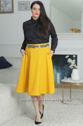 Модная горчичная юбка Новинка