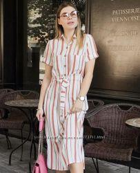 Модное льняное платье в полоску Новинка