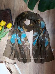 Элегантный женственный шарфик, шелк, полиэстер