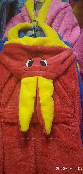 Халат детский теплый махровый Зайка, с ушками, от 1 до 9 лет, цвета разные