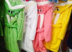 Детский махровый халат Зая с ушками, от 2 до 12 лет, цветов много
