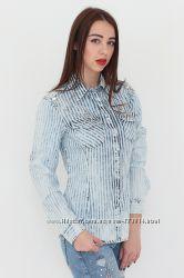 e1cb20f360a Шикарная белая рубашка с бабочками в стразы