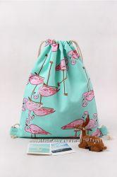 Сумка-Рюкзак Фламинго - для покупок, бассейна, пляжа, сменки обуви, игрушек