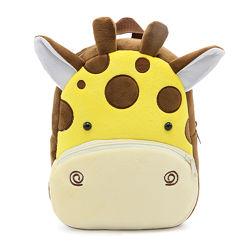 Рюкзак детский плюшевый мягкий с мордочками животных