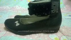 Туфли-балетки черные, с застежкой вокруг щиколотки, размер 35