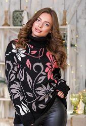 Теплый вязаный свитер, размер 44-52