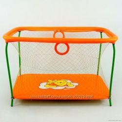 Манеж игровой Kinderbox Люкс с крупной сеткой Винни Пух оранжевый