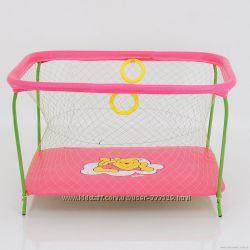 Манеж игровой Kinderbox Люкс с крупной сеткой Винни Пух розовый
