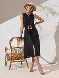 Элегантное платье без рукавов из льняной ткани