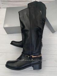 Женские высокие кожаные сапоги на низком ходу, Италия, Скидка