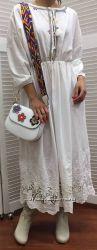 Лаконичное котоновое платье в этно-стиле, Италия