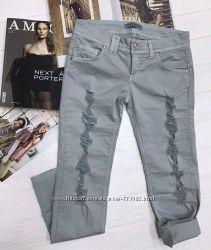 Тонкие летние джинсы пыльно-голубого цвета, Италия