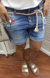 Джинсовые шорты с отворотами и поясом-бечевкой, Италия, скидка