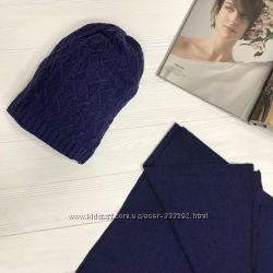 Женский комлект из шерсти и кашемира шапка и шарф, Италия