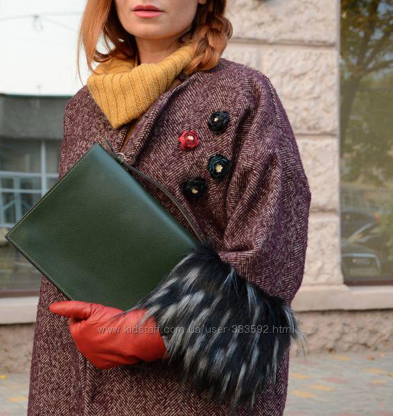 Пальто-кокон в ёлочку с укороченными рукавами, Италия, Скидка